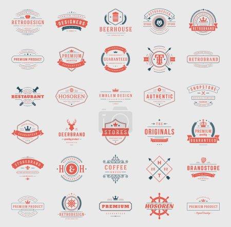 Retro Vintage Logotypes or insignias set vector design elements