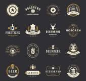 Set Beer Logos Badges and Labels Vintage Style
