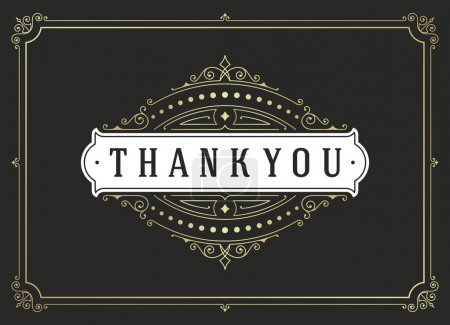 Illustration for Thank You Typography Message Vintage Greeting Card design template. Flourishes calligraphic ornament Retro vector background. Thank You Card Note, Thank You Background - Royalty Free Image