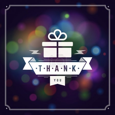 Illustration for Thank You Typography Message Vintage Greeting Card design template. Bokeh light vector background - Royalty Free Image