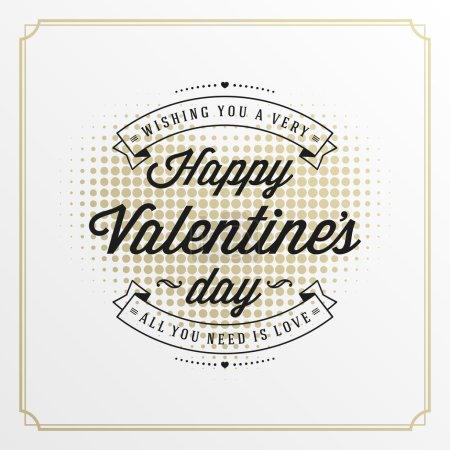 Illustration pour Illustration de vecteur de carte de salutation de jour de Valentines. Conception typographique rétro et forme de coeur de demi-ton fond de style d'or. Fond heureux de jour de Valentines, carte de Valentine, concept d'amour - image libre de droit