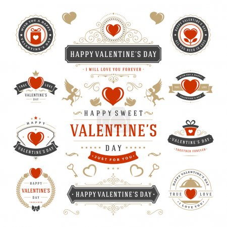 Illustration for Valentines Day Labels and Cards Set, Heart Icons Symbols, Greetings Cards, Silhouettes, Retro Typography Vector Design Elements. Valentines day cards, Valentines Badges, Valentines Day Vector Labels - Royalty Free Image