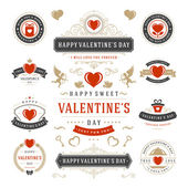 Valentines Day Labels and Cards Set Heart Icons Symbols Greetings Cards Silhouettes Retro Typography Vector Design Elements