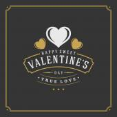 Happy Valentines Day greeting Card or Poster and Heart vector illustration