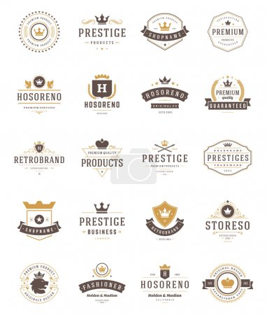 Vintage Crowns Logos Set. Vector design elements, Premium Quality Labels