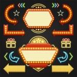 Retro Showtime Signs Design Elements Set. Bright B...