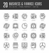 Line icons set Trendy Modern flat thin linear stroke vector Business and Finance concept