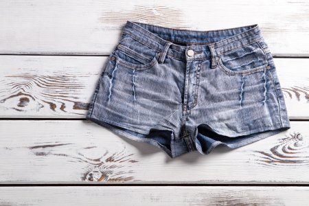 Female vintage denim shorts.