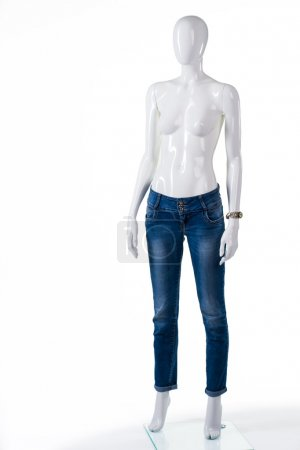 Plain blue skinny jeans.