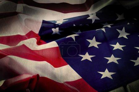 Old flag of USA. Dark american flag.