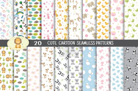 Illustration for Cute cartoon seamless patterns.pattern swatches included for illustrator user, pattern swatches included in file, for your convenient use. - Royalty Free Image