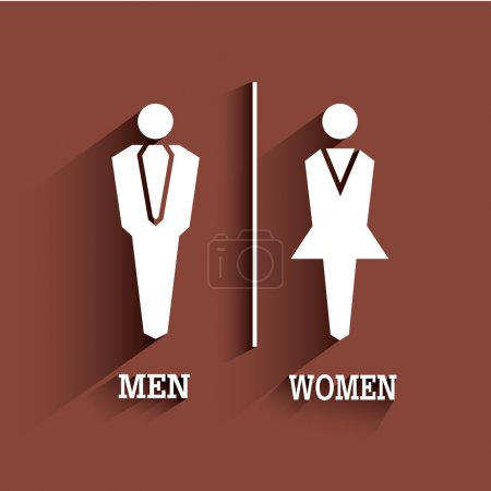 Illustration for WC sign. Toilet symbol. Male and Female with long shadow. - Royalty Free Image