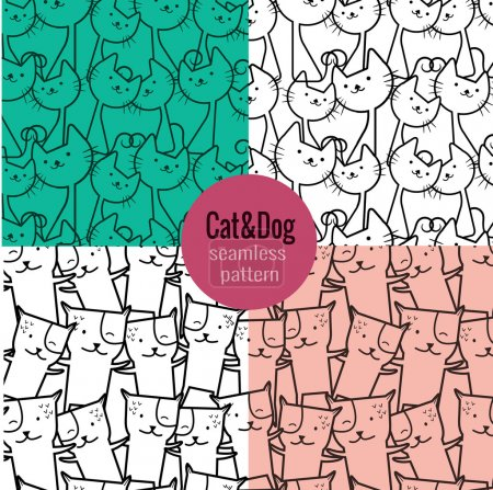 Illustration for Cat seamless pattern, dog seamless pattern. pattern swatches included for illustrator user, pattern swatches included in file, for your convenient use. - Royalty Free Image