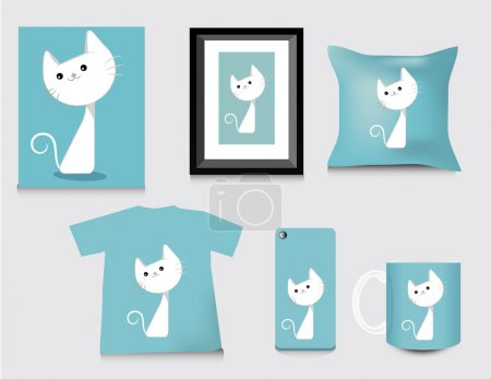 Gift set template, cat cute style.vector illustration