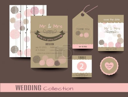 Set of wedding cards. Wedding invitations, Thank you card, Save the date card, Table card.vector