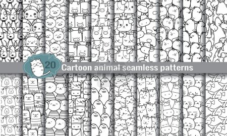 Cartoon animal seamless patterns. pattern swatches...