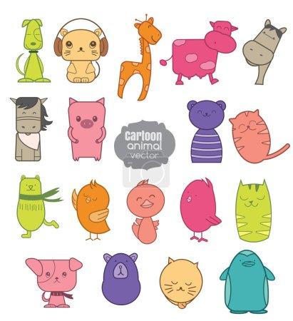 colorful cartoon animal icon set.vector illustartion
