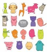 colorful cartoon animal icon setvector illustartion