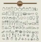 kitchen tool icon set and food icon set vector illustration