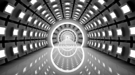 Photo pour Modernes illustration de couloir de piste, Arrière-plan d'architecture abstraite, Design industriel urbain, Illustration 3D de long couloir - image libre de droit