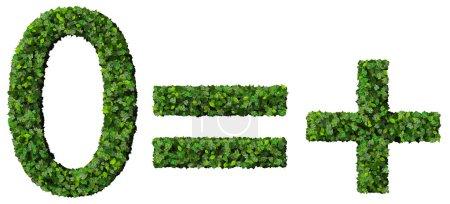 Photo pour Belle inscription faite de feuilles vertes isolées sur fond blanc . - image libre de droit