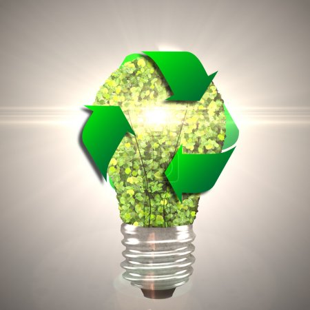 Eco bulb made from green leaves. 3d render.