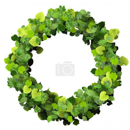 Ring made from green leaves isolated on white background. 3d render.