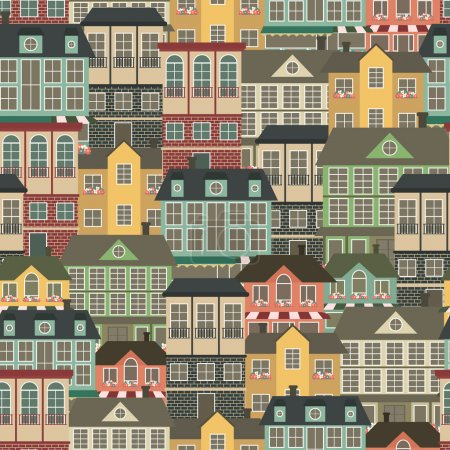 Illustration for Seamless patter with houses. Vector illustration - Royalty Free Image