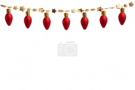 String of Christmas ornament lights on gold garland