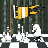Chess illustration chessboard cage black and white picture game pawn king queen horse elephant castle queen