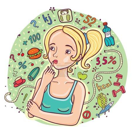 Diet girl illustration.