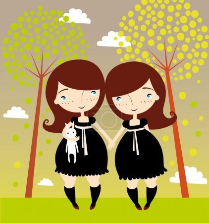 Illustration for Twin girls - Royalty Free Image