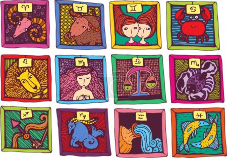 Colored cute cartoon horoscope
