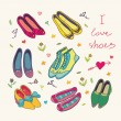 Colorful Shoes collection with text i love shoes...
