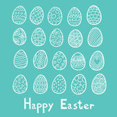 Happy Easter eggs blue background
