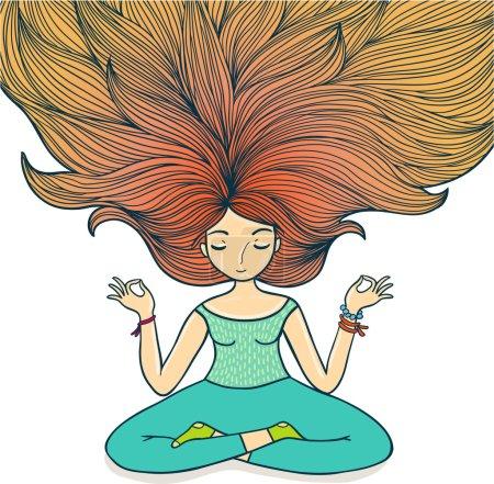 Illustration for Meditation girl on a white background. - Royalty Free Image