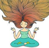 Meditační dívka na bílém pozadí