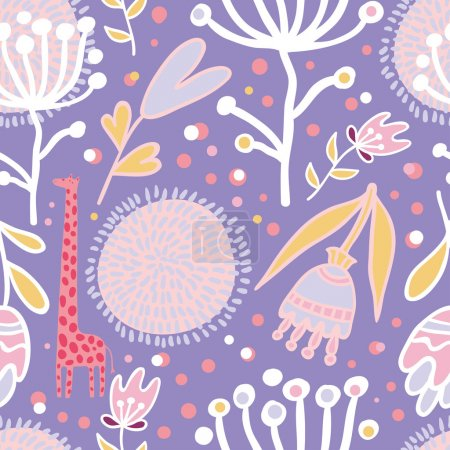Illustration for Flowers and giraffes seamless pattern - Royalty Free Image