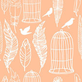 Ink hand drawn feathers birds and cage pattern