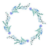 Watercolor flowers wreath in blue color Hand painted wedding illustration