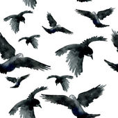 Watercolor ravens seamless patter