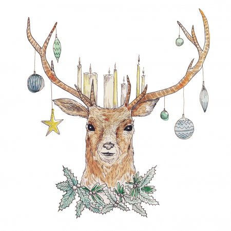 Illustration for Watercolor Christmas deer portrait with candles and Christmas  balls. Holiday hand drawn card design. Vintage vector illustration - Royalty Free Image