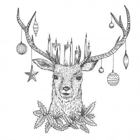 Illustration for Watercolor Christmas deer portrait with candles and Christmas  balls. Holiday hand drawn card design. Vintage black and white vector illustration - Royalty Free Image