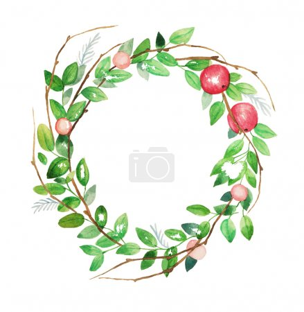 Illustration for Watercolor floral wreath. Vintage hand drawn vector illustration. - Royalty Free Image