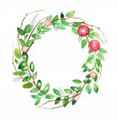 Watercolor floral wreath Vintage hand drawn vector illustration