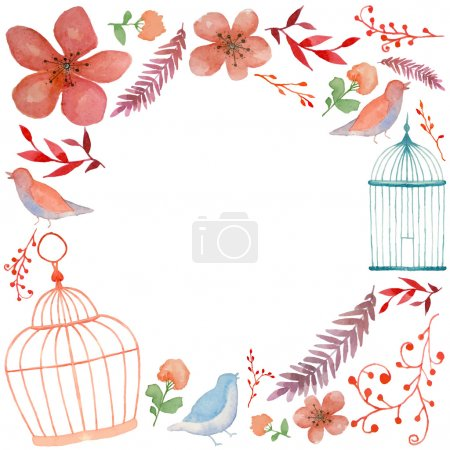 Watercolor flowers, birds and cages frame
