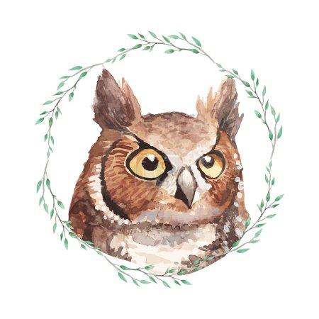 Illustration pour Watercolor owl portrait inside wreath. Vintage natural illustration - image libre de droit