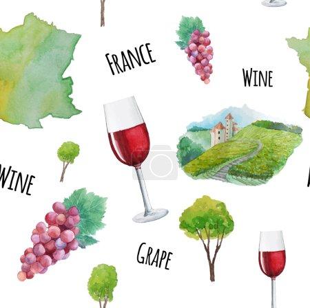Modèle de vin aquarelle