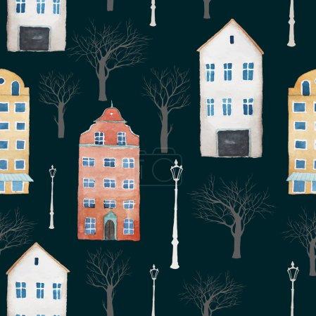 Illustration pour Aquarelle ville d'Europe motif. Texture sans couture avec bâtiments, arbres, lampes . - image libre de droit