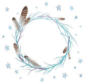 Stars and feathers wreath Watercolor winter branches wreath with feathers and stars Hand drawn vector frame